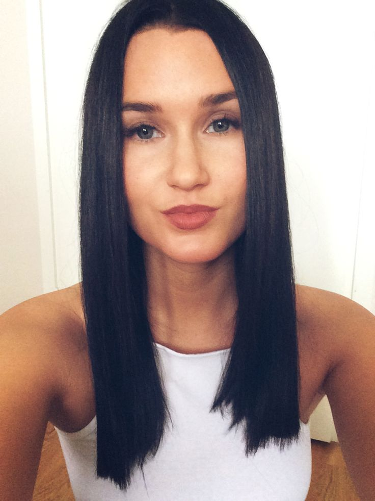 Dark brown medium length hair