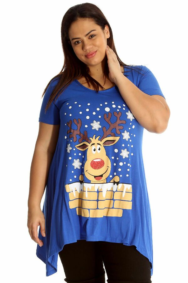 4b5e5fb2f0b New Womens Plus Size Christmas Top Ladies Rudolph Reindeer Print T-Shirt  14-28 Top Ladies Christmas