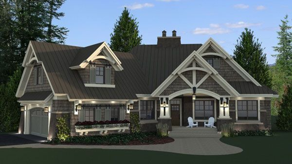 Wow! This three-bedroom cottage design boasts a stunning façade! A spacious great room anchors the floor plan.