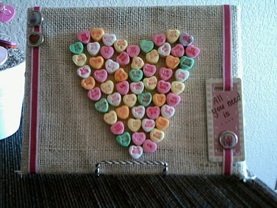 Heart made with conversation hearts