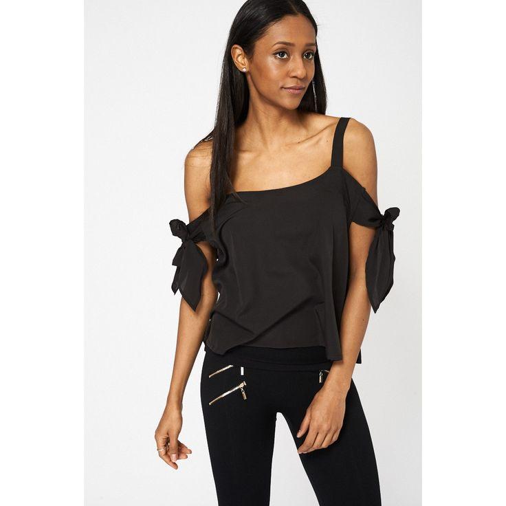 Black Bow Tie Sleeve Bardot Top