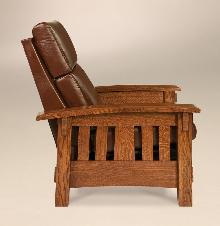 Amish Mission Arts and Crafts Recliner Chair McCoy Solid Wood Leather | eBay