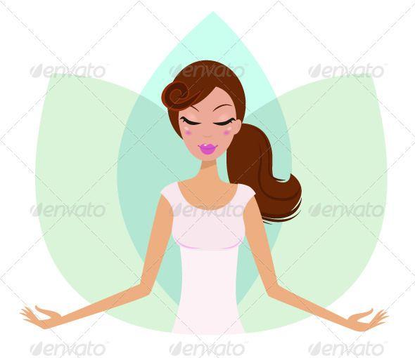 Yoga meditating cute girl in Lotus Flower
