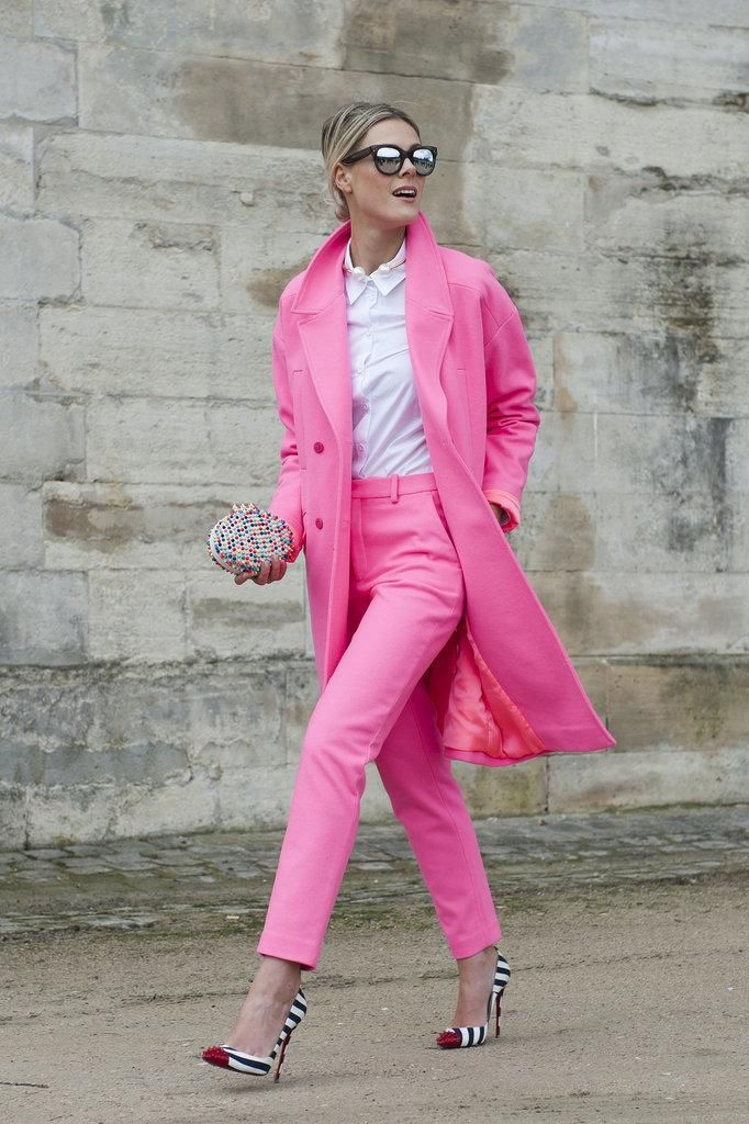 Image Via: The Glitter GuideStreet Fashion, Pink Suits, Fashion Street Style, Fashion Style, Pink Outfit, Street Style, Pink Pants, Paris Fashion Weeks, Fall 2014