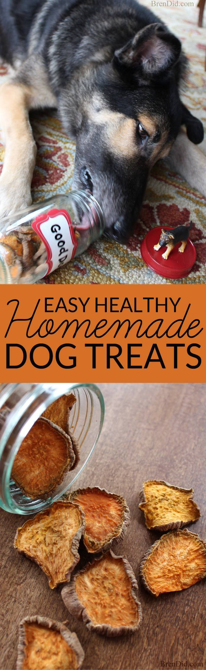 Commercial dog treats can be full of corn or other questionable ingredients. Make your own easy homemade dog treats with this one ingredient tutorial and feed your pet healthy homemade dog treats. #dogs #healthy #pets
