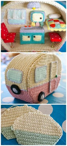 #Crochet Caravan Pattern Free, such an adorable crochet masterpiece and gifts.  -->http://www.diyhowto.org/crochet-caravan/