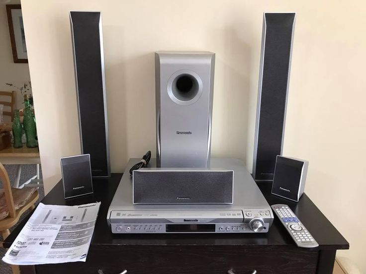 Panasonic DVD Home Theater System SC-HT743  5-DVDs 5 Speakers + Subwoofer Clean #Panasonic