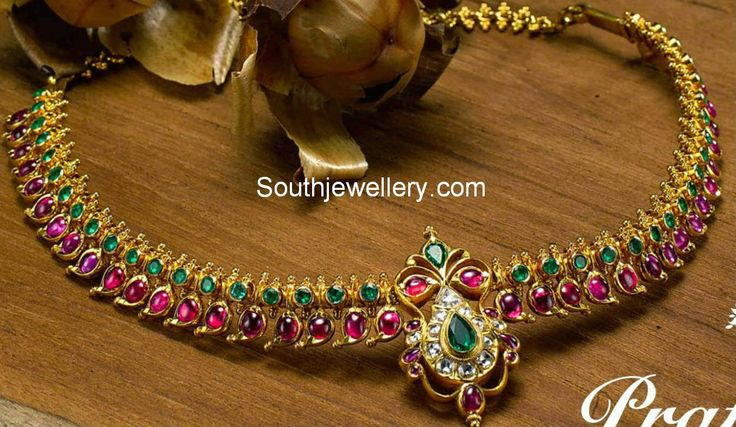 elegant ruby emerald necklace