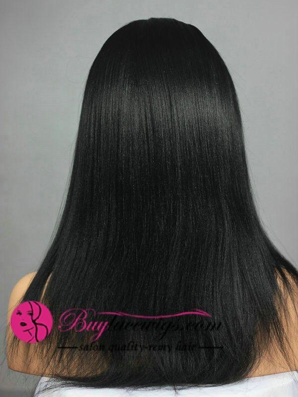 14Inch #1 Jet Black Kinky Straight U Part Wigs
