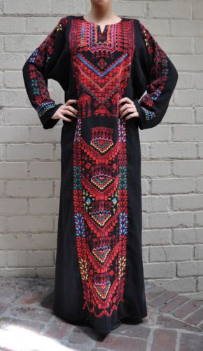 Bedouin-Black-Red-Hand-Embroidered-Dress-1960s-Arab-Middle-East