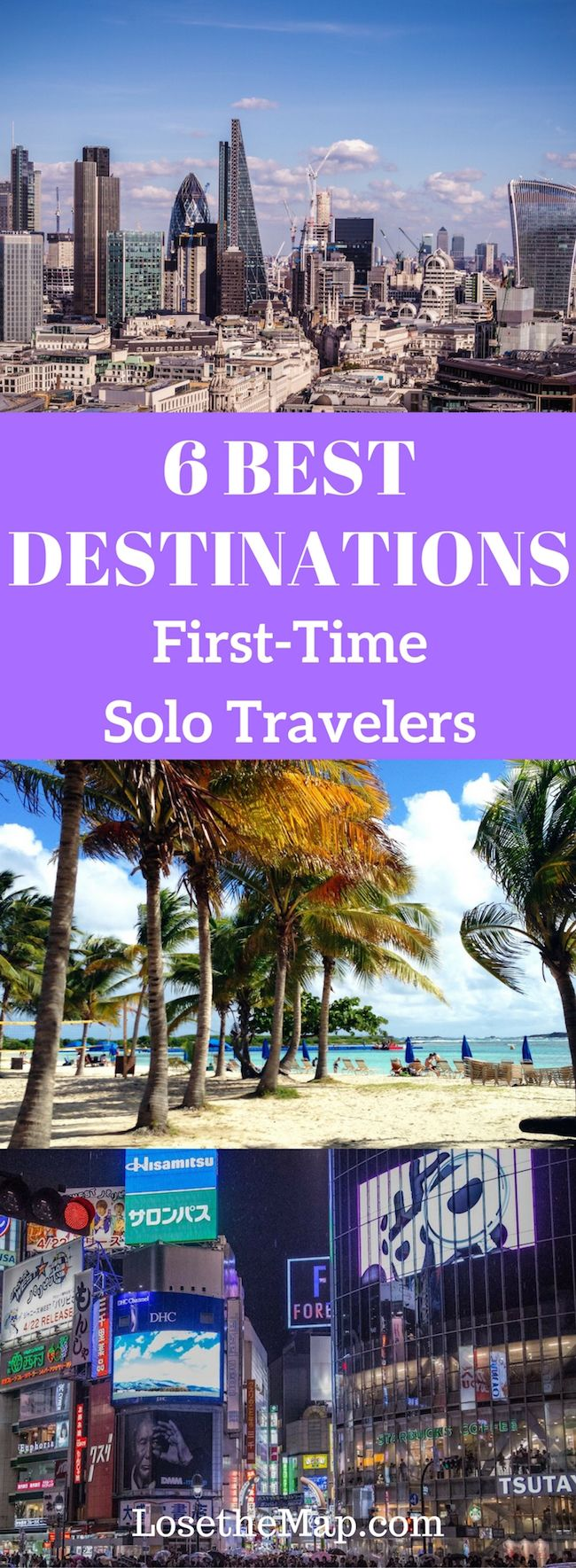 Want to plan your first solo trip abroad, but not sure where to go?  Whether you're looking for a beach trip, a city excursion or a cultural getaway, here are the best destinations for your first solo adventure!  Which solo travel destination do you want to visit first?