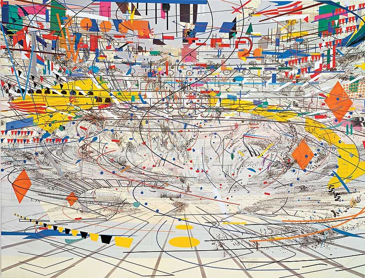 """Julie Mehretu - """"Stadia II,"""" 2004; Ink and acrylic on canvas, 108 x 144 inches; """"Some days I'll be engaged in painting, and make great headway, and then the next day I'll come in and I have no access. You can have the whole day just feel like you're spinning your wheels. But I think that's part of the work—being in the studio, just looking at the work for a long time, and realizing the painting."""" -Julie Mehretu"""