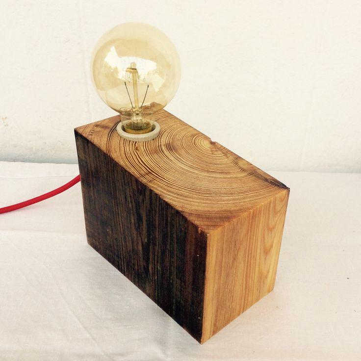 L mpara de madera reciclada y l mpara vintage la noble - Lamparas con madera ...
