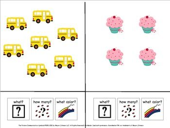 Adapted book; counting, colors, adjectives