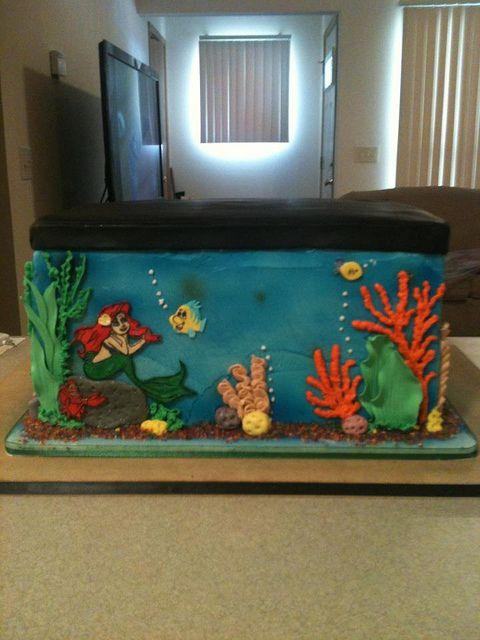 Little mermaid fish tank birthday cake pasteles cup for Mermaid fish tank