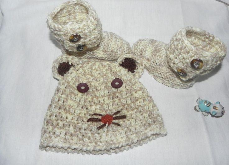 """Cappellino e scarpette neonato """"Gatto con baffi"""""""