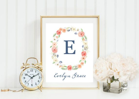 This 8x10 vintage style customized {simple printable} features a beautiful peach, green, and yellow watercolor floral wreath that frames your chosen initial on a white background. Below the initial is your daughters name written in a beautiful cursive style font. This would be gorgeous in a nursery - so feminine and sweet!  This product is a JPEG printable file that will be sent directly to your e-mail address. From there, this file can be printed and framed and put in the perfect spot in…
