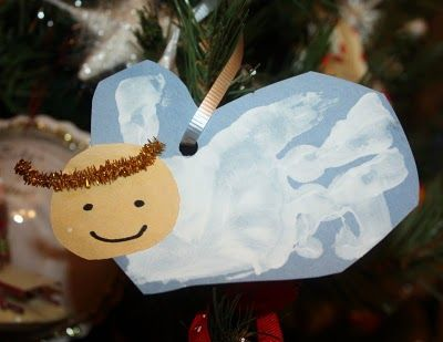 Love this for Christmas with my Kinders. The parents will love it! - handprint angel
