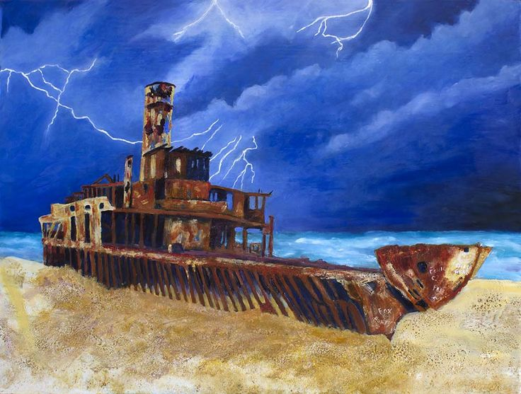Cherry Venture - The End is Near. Encaustic & pigments on marine ply board. 62cm x 80cm. See more of my work on http://www.gaylereicheltart.com #shipwreck paintings, #shipwrecks,  #marine art,  #marine artist,  #Gayundah  #Cherry Venture  #rustart