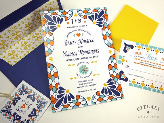 Spanish Tile Colorful Talavera Wedding Invitations With Envelope Liner And Twine Monogram Tag Made In Our