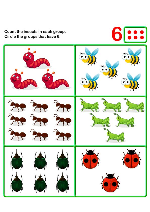 Count Six   k   Kids Learning Games and Worksheets   Free Printable Activities & Online Kids Games   Free Math Worksheet   Free Counting Worksheet   Kids Worksheets