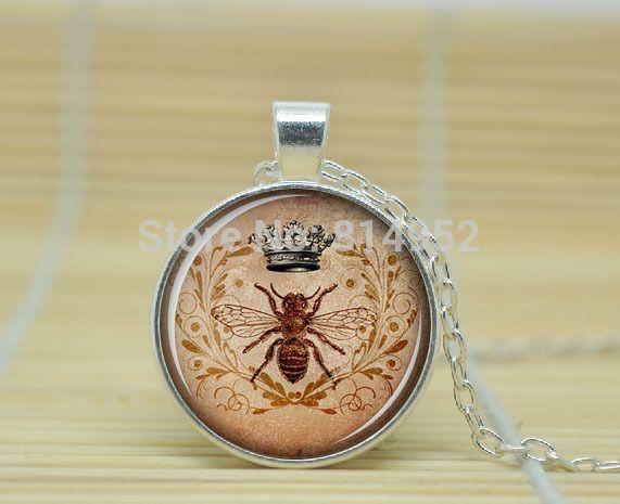 10 шт. королевская корона и би, Корона и би ювелирные изделия стекло кабошон ожерелье A1468