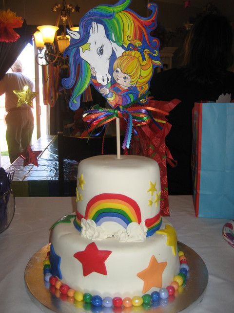 Cake at a Rainbow Brite Party #rainbowbrite #partycake I know im grown but I want a rainbow brite cake for ma birthday some year lol