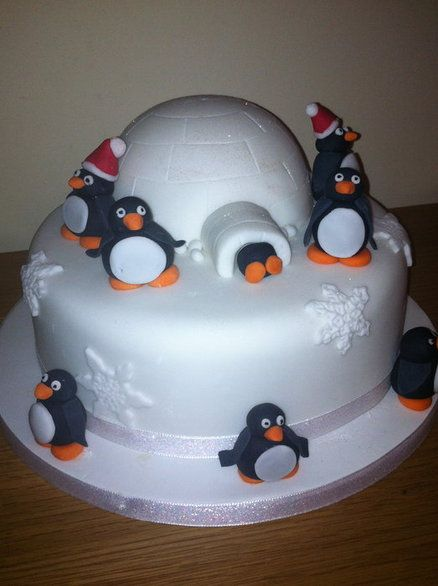 Penguin Christmas - by MyBigFatCake @ CakesDecor.com - cake decorating website