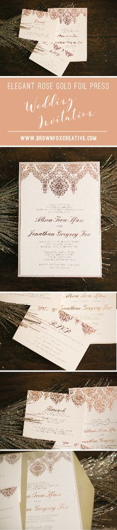 Elegant Rose Gold Foil Press Wedding Invitations