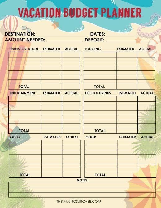 Save money and keep your travels on budget with this FREE Printable Travel Budget Worksheet.  It's great for recording estimated costs before travel & actual costs once you return home from vacation.