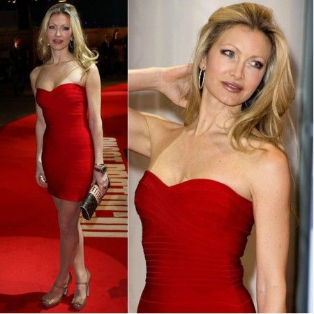 Caprice Bourret Strapless Red Bandage Dress