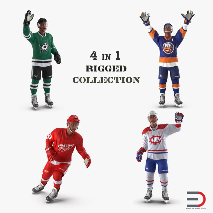 Rigged Hockey Players Collection 3D model