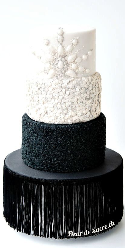 Diamonds & Bling Wedding Cake By Fleur de Sucre 3 tiered wedding cake with chocolate cake and raspberry-ganache filling. https://www.facebook.com/fleurdesucre