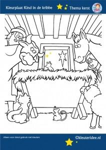 Jezus geboren in de stal, kleurplaat kerst, kleuteridee, preschool nativity christmas coloring, free printable
