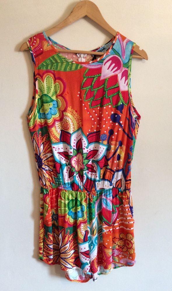 DESIGUAL MANDARINA ROMPER Size 4 EU 28 Sleeveless Floral Multicolor Women Casual #Desigual #Romper
