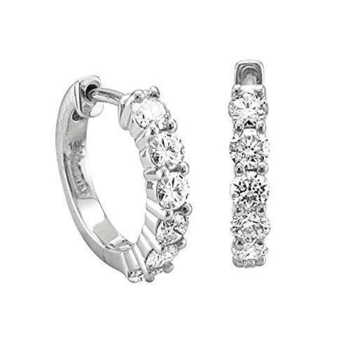 14k White Gold 6 Stone Hoop Diamond Earrings 34 Carat -- You can find more details by visiting the image link.