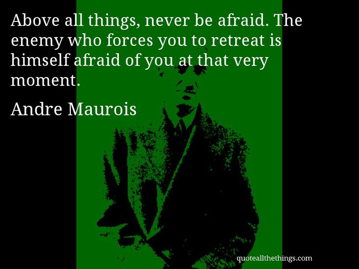 Andre Maurois - quote � Above all things, never be afraid. The enemy ...