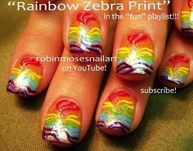 Nail-art by Robin Moses: rainbow zebra nail art, rainbow leopard nail art, rainbow cheetah nail art, rainbow nail art, rainbow nails, cute rainbow nail, funky rainbow nail, how to do nail art, coach bag nail art, fendi bag nail art, gucci nail art, robinmosesnailart, rainbows, magical nail art, unicorn nails,