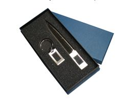 Description :  Keychain with Letter Opener Packaging :  Blue Gift Box  Carton Meas :  52 x 45 x 43cm