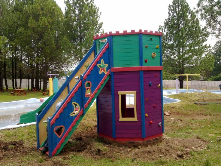 A colourful children's playhouse created with Woodoc Colours and sealed with Woodoc 50 Clear Exterior Sealer Marine. #woodoc #colours #wood #colourful #playhouse #50 #clear #exterior #sealer #marine #30