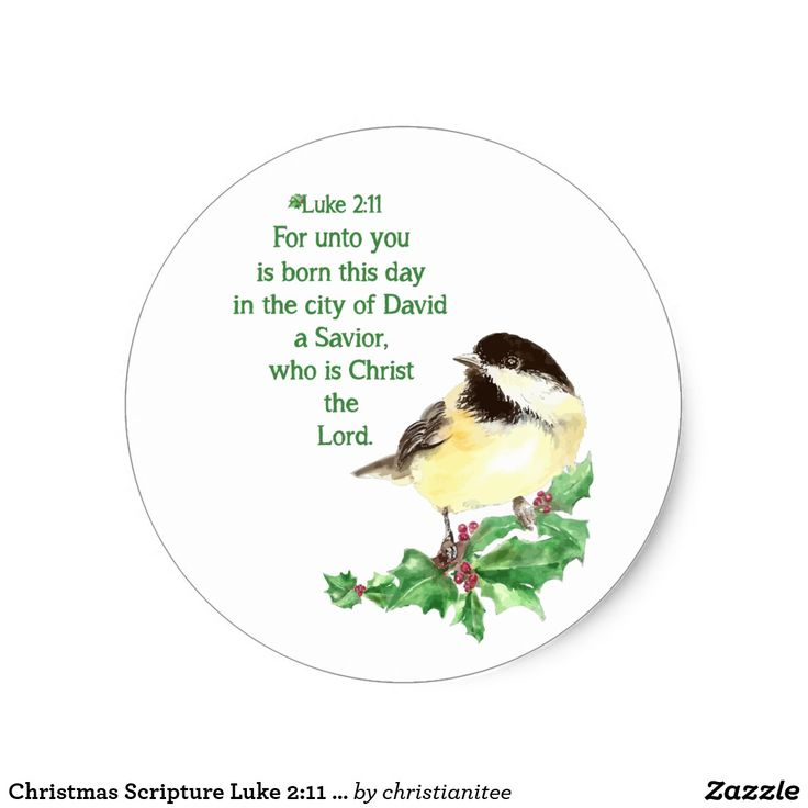 Christmas Scripture Luke 2:11 Chickadee Holly art