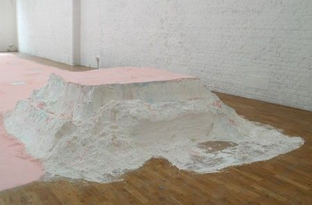 Platonic Solid (detail) 2009, Plaster powder, powder paint, sugar paper, chalk, lipstick