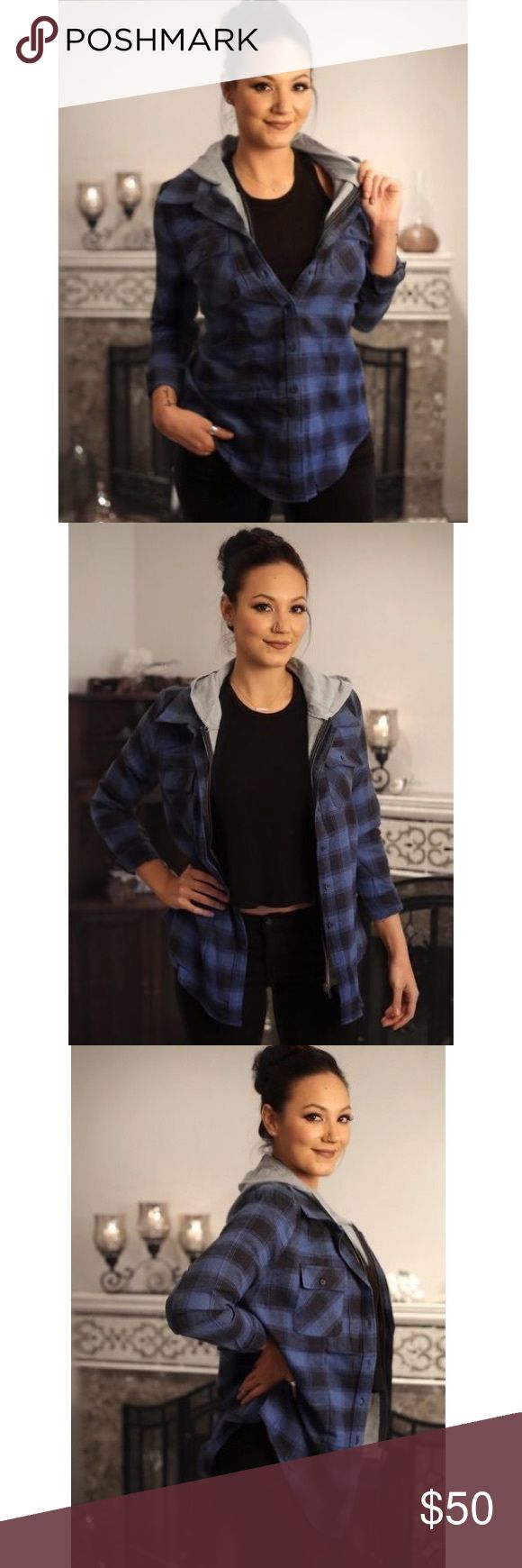 Flannel Jacket with Hood With its blue and black checkered design, a contrast hood and buttoned cuffs, you are able to wear this must have season favorite zipped up, buttoned, or left open. Tie it around your waist for a trendy look!   Fabric:  95% Cotton, 5% Polyester Contrast: 100% Polyester cavalini  Jackets & Coats