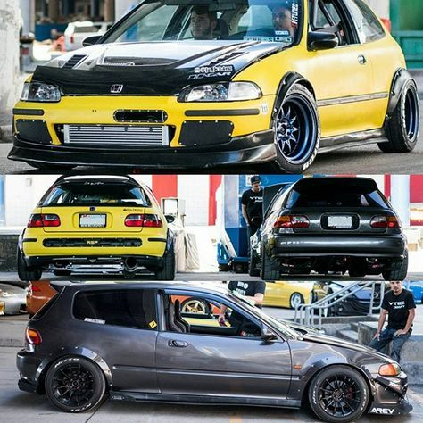 Two track prepped eg hatchbacks. Me and my friend @512fryer (grey) at #wekfest yellow eg @jc_k24eg Photo:@rollingclassics