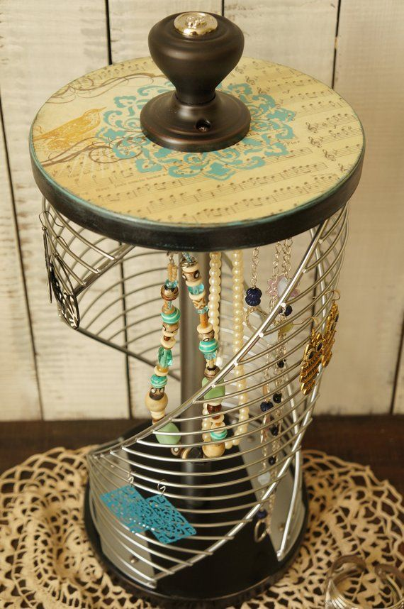 Large Wood Jewelry Stand Vintage Jewelry Stand Metal Jewelry Stand Light  Turquoise   Aqua   Black - Womens Jewelry Stand Girls Gift for Her 04e5d79138