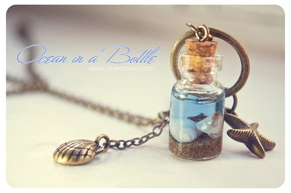 Ocean in a Bottle necklace. Vial necklace with door 13thPsyche