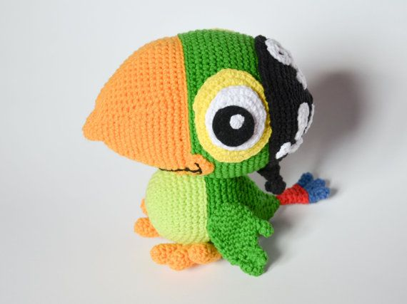 Crochet PATTERN Skully parrot Jake and the Naver Land par Krawka