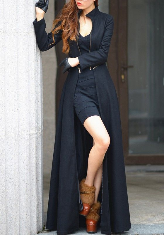 Black Plain Zipper Slim Band Collar Maxi Wool Coat - Tops. Like it without the Wookie boots...