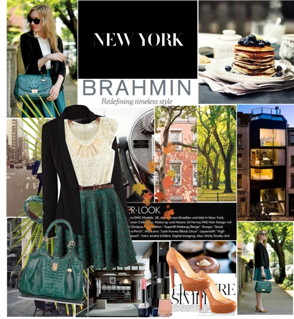 """How do you wear your Brahmin?"" by mockingjayx on Polyvore: Green Skirts, Lace Tops, Black Cardigans, Dream Wardrobes, Gorgi Styles, Fall Wint Wardrobes, Emeralds Green, Offices Outfit, Fall Styles"