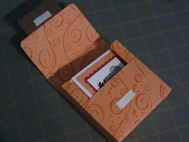 "Notecard box.. I just made this and I LOVE it.  I made 8 cards to go in it that are 3-1/4"" x 3-1/2"" and they fit great.  A little room on the sides so it's easy to get the cards out.  The height is 3-1/2 "" and it is the perfect height to keep the top of the box firm."